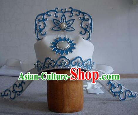 Chinese Traditional Beijing Opera Taoist Priest Scholar White Hats Headwear for Men