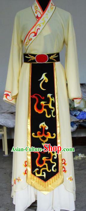 Chinese Traditional Beijing Opera Diva Embroidered Yellow Dress China Peking Opera Princess Costumes for Adults