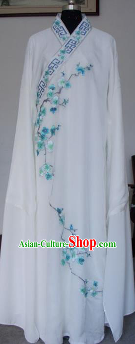 Chinese Traditional Shaoxing Opera Niche Embroidered Wintersweet White Silk Robe Clothing Peking Opera Scholar Costume for Adults