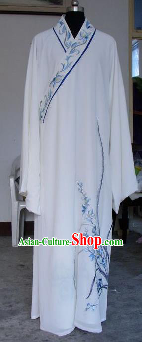 Chinese Traditional Shaoxing Opera Niche Embroidered Orchid White Silk Robe Clothing Peking Opera Scholar Costume for Adults