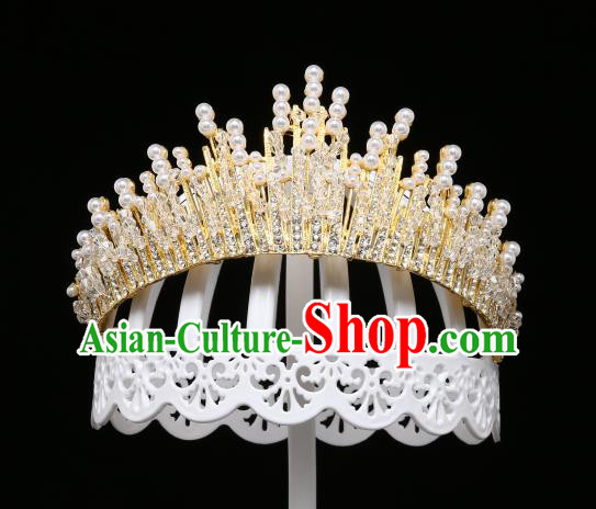 Children Modern Dance Hair Accessories Stage Performance Golden Crystal Royal Crown for Kids