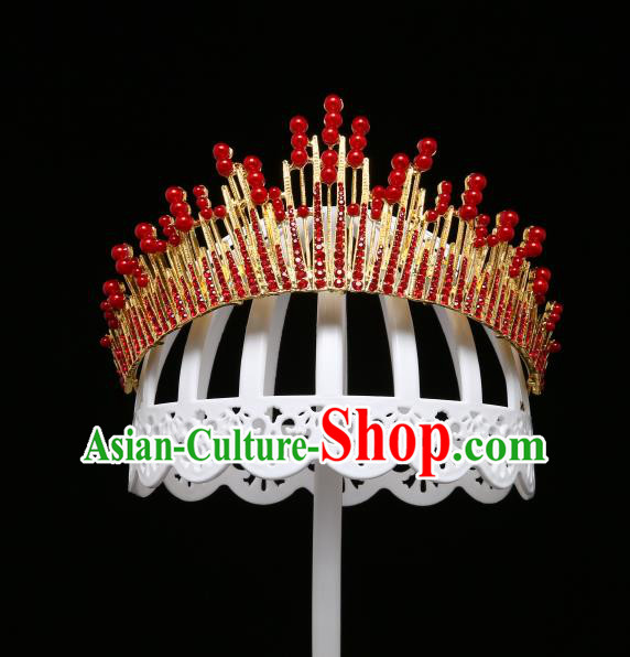 Children Modern Dance Hair Accessories Stage Performance Red Crystal Royal Crown for Kids