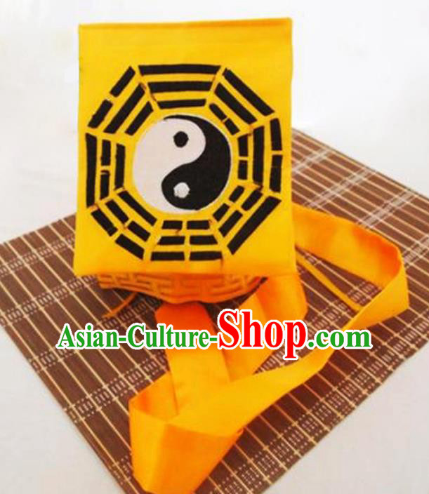 Chinese Traditional Martial Arts Taoist Tai Chi Yellow Scarf Hat for Men