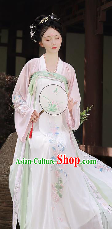 Chinese Ancient Tang Dynasty Princess Costume Embroidered Hanfu Dress for Women
