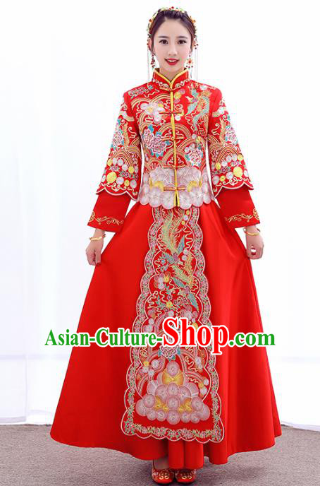 Chinese Traditional Embroidered Peony Wedding Costumes Ancient Longfeng Flown Bride Xiuhe Suits for Women