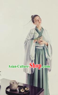 Chinese Traditional Jin Dynasty Swordswoman Costumes Ancient Hermit Dress for Women