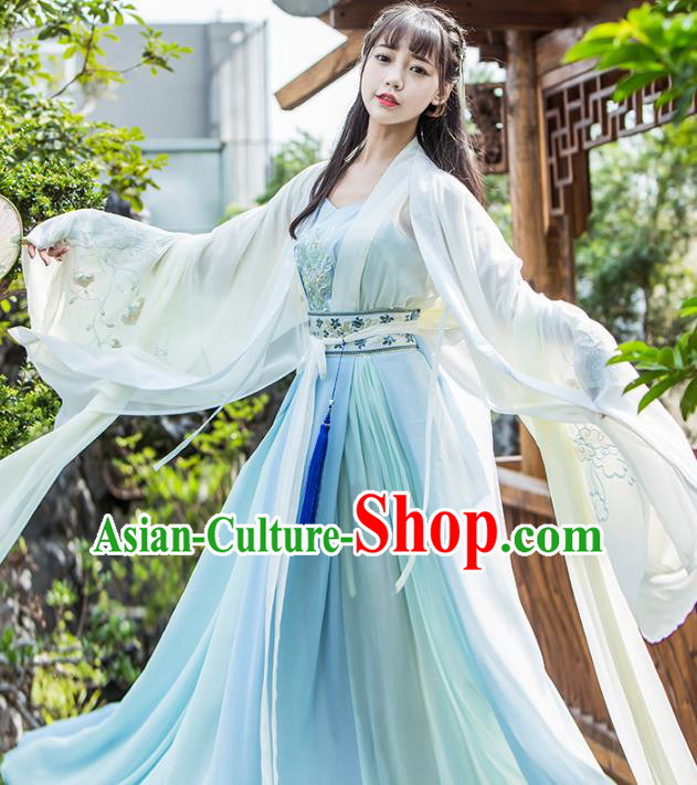 Chinese Traditional Jin Dynasty Princess Costumes Ancient Nobility Lady Hanfu Dress for Women