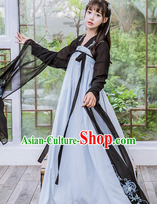 Chinese Traditional Tang Dynasty Young Lady Costumes Ancient Nobility Lady Hanfu Dress for Women