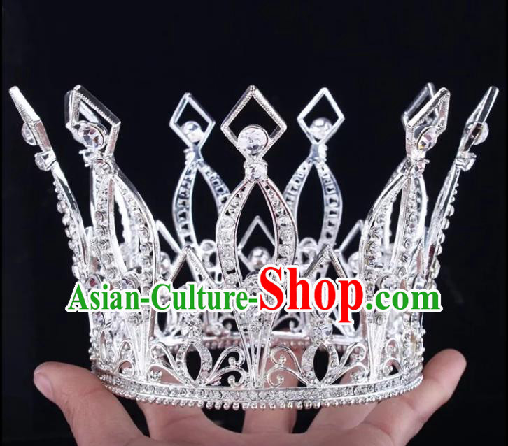 Top Grade Children Stage Performance Hair Accessories Princess Crystal Royal Crown for Kids
