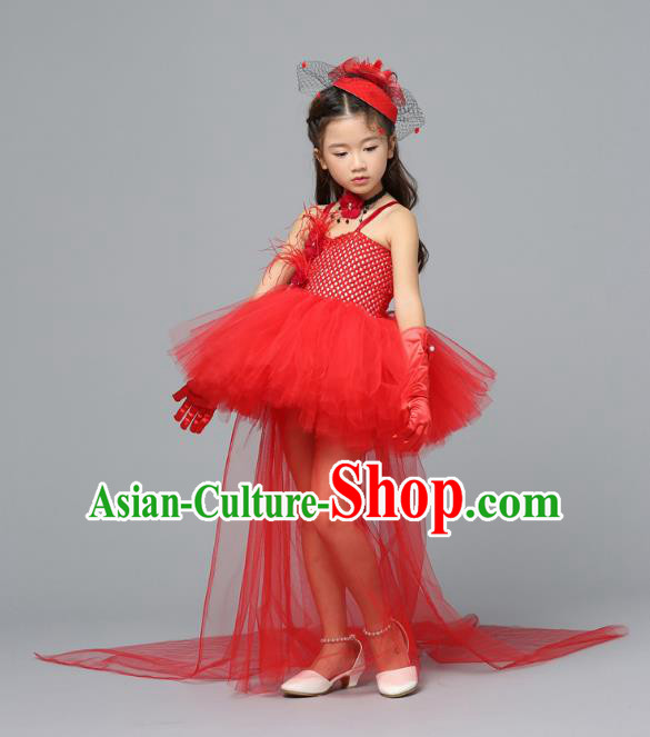 Children Models Show Costume Stage Performance Catwalks Compere Red Veil Trailing Dress for Kids
