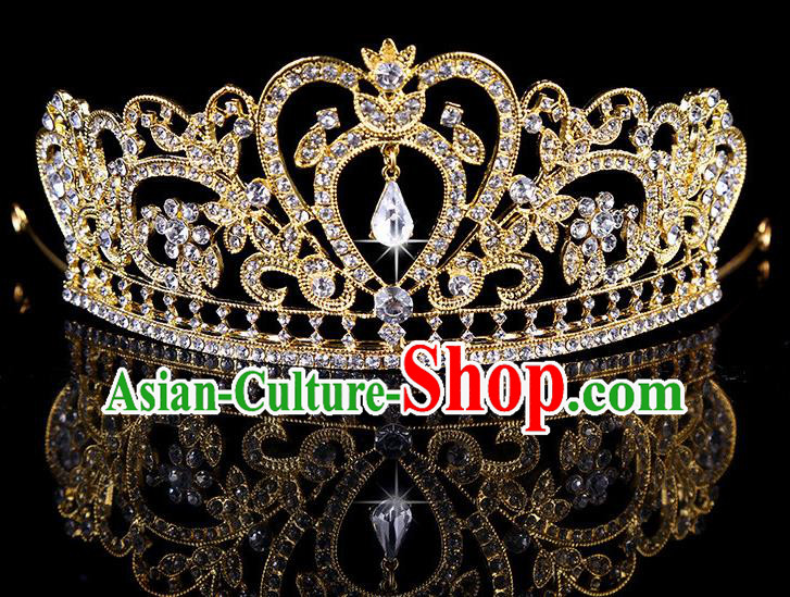 Top Grade Children Stage Performance Hair Accessories Crystal Golden Royal Crown Headwear for Kids