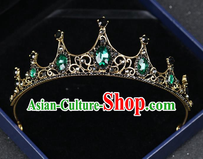 Top Grade Children Stage Performance Hair Accessories Green Crystal Royal Crown Headwear for Kids