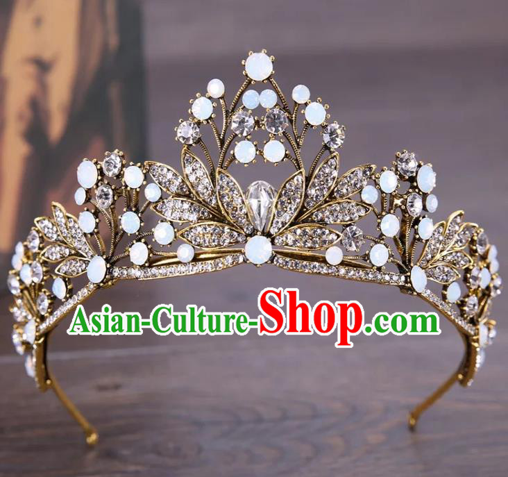 Top Grade Children Stage Performance Hair Accessories Crystal Leaf Royal Crown Headwear for Kids