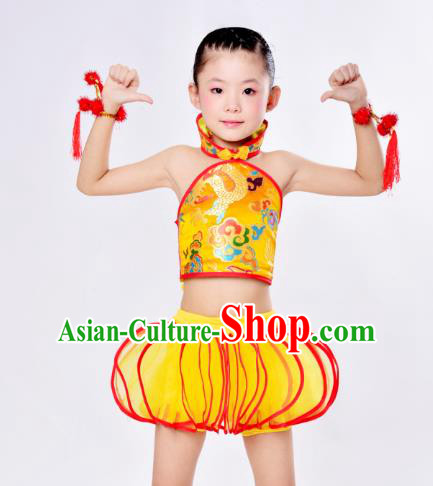 Top Grade Children Catwalks Costume Folk Dance Stage Performance Yellow Clothing for Kids