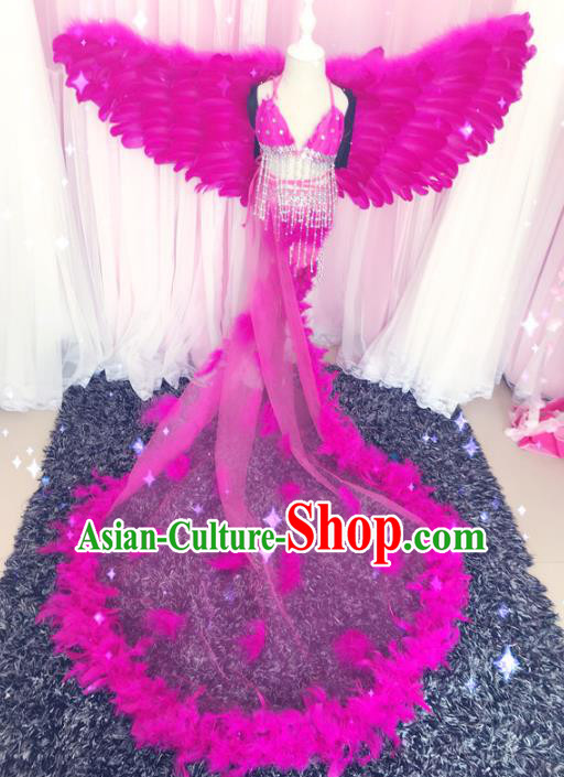 Children Models Show Costume Stage Performance Catwalks Rosy Feather Dress and Wings for Kids