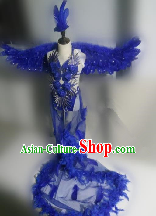 Children Models Show Costume Stage Performance Catwalks Royalblue Feather Dress and Wings for Kids