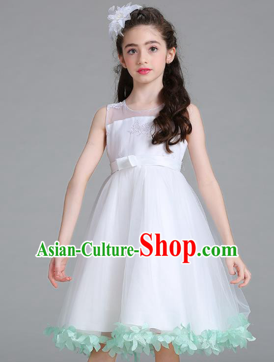 Children Models Show Compere Costume Stage Performance Girls Princess Green Petals Full Dress for Kids
