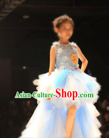 Children Models Show Compere Costume Girls Princess Mullet Dress Stage Performance Clothing for Kids