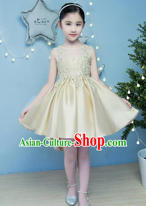 Children Models Show Compere Costume Girls Princess Golden Full Dress Stage Performance Clothing for Kids