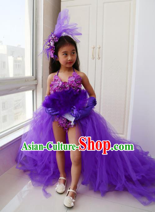 Children Models Show Costume Catwalks Stage Performance Purple Dress and Hat for Kids