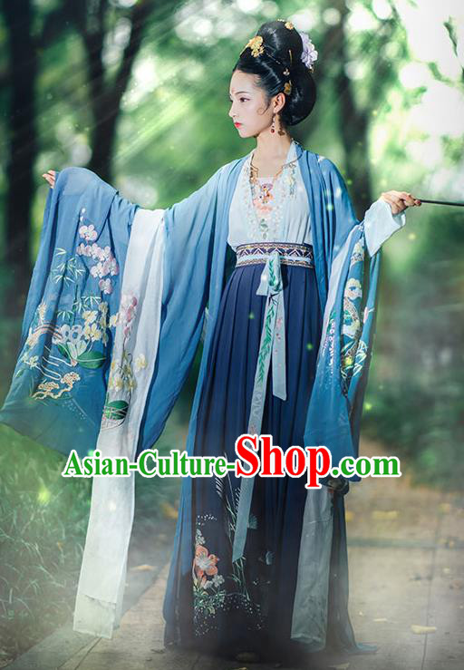 Chinese Traditional Costume Tang Dynasty Imperial Consort Embroidered Big Sleeve Cloak for Women