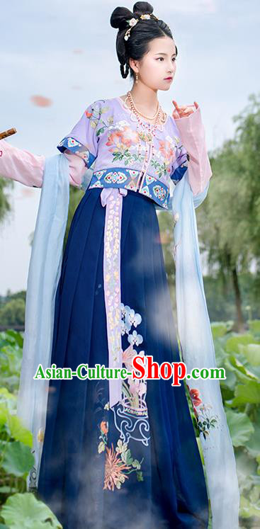 Chinese Tang Dynasty Court Maid Hanfu Dress Ancient Palace Lady Embroidered Costumes for Women
