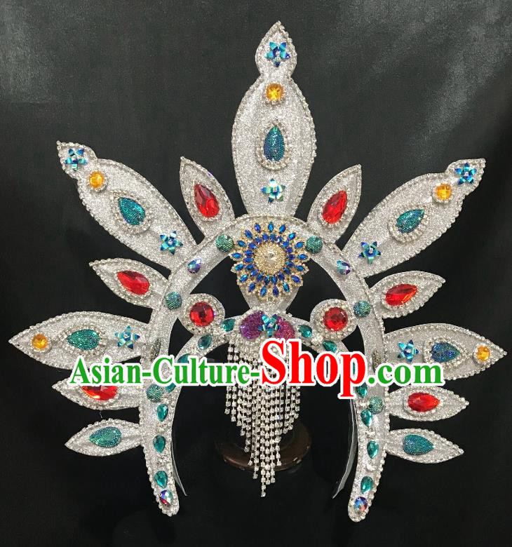 Top Grade Halloween Catwalks Hair Accessories Brazilian Carnival Samba Dance Colorful Crystal Headwear for Kids