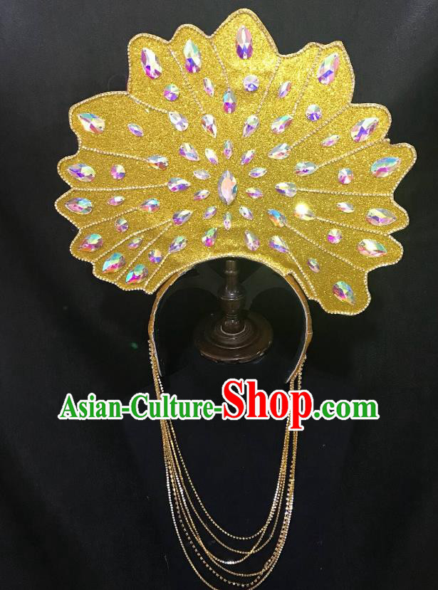 Top Grade Halloween Catwalks Hair Accessories Brazilian Carnival Samba Dance Golden Headwear for Kids
