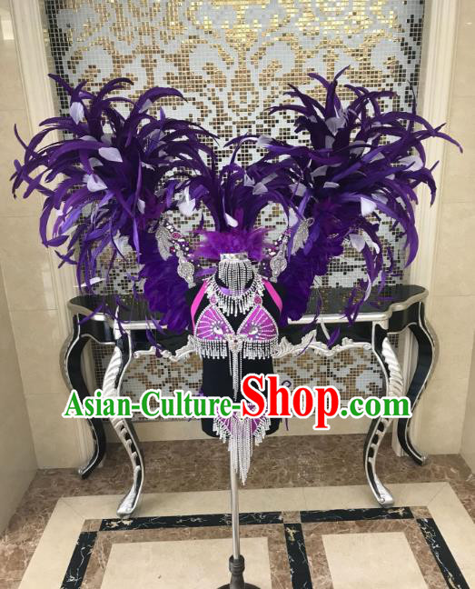 Children Catwalks Costume Modern Dance Swimsuit and Purple Feather Angel Wings for Kids