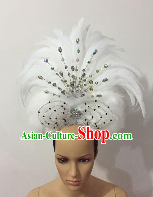 Brazilian Rio Carnival Samba Dance White Feather Headdress Stage Performance Hair Accessories for Women