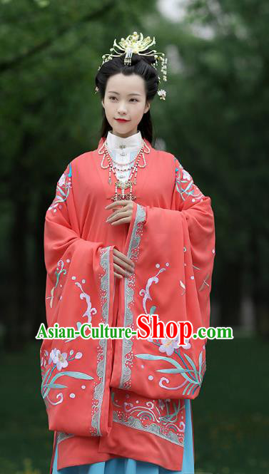 Chinese Ancient Nobility Female Red Hanfu Dress Ming Dynasty Imperial Consort Embroidered Costumes and Hair Accessories for Women