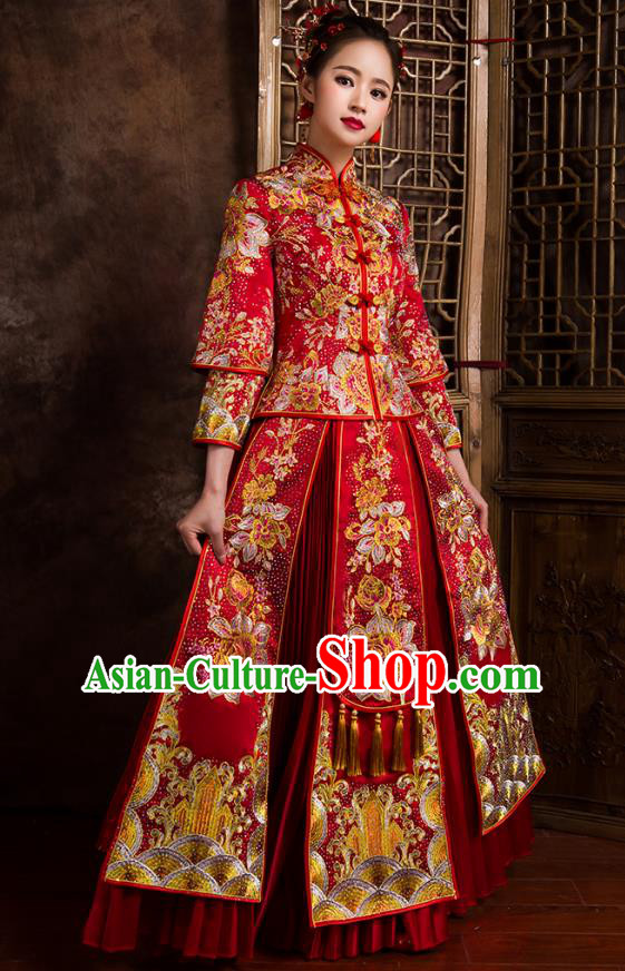 Traditional Chinese Bridal Costumes Ancient Bride Wedding Embroidered Peony Beads Red XiuHe Suit for Women