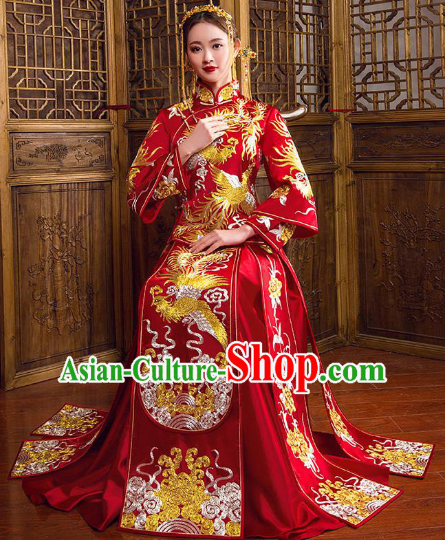 Traditional Chinese Bridal Wedding Costumes Ancient Bride Red Embroidered Phoenix Peony Longfeng Flown XiuHe Suit for Women
