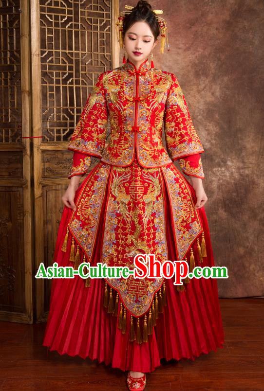 Chinese Traditional Wedding Costumes Ancient Bride Embroidered Dragon Phoenix Diamante Xiuhe Suit for Women
