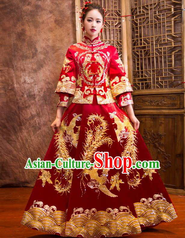 Traditional Chinese Bridal Costumes Ancient Bride Wedding Embroidered Peony Phoenix XiuHe Suit for Women