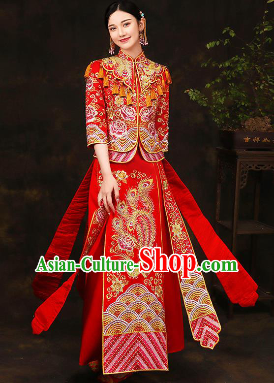Traditional Chinese Style Female Wedding Costumes Ancient Embroidered Phoenix Peony Full Dress XiuHe Suit for Bride
