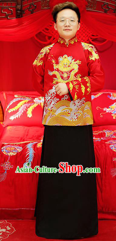 Traditional Ancient Chinese Wedding Costumes Bridegroom Embroidered Tang Suit for Men