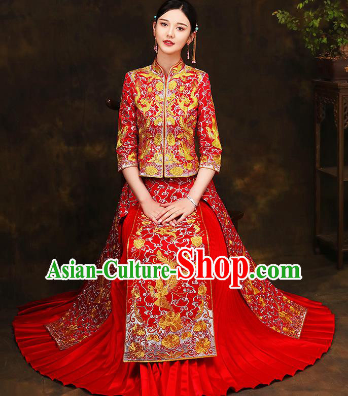 Traditional Chinese Style Female Wedding Costumes Ancient Embroidered Dragon Phoenix Bottom Drawer Red XiuHe Suit for Bride