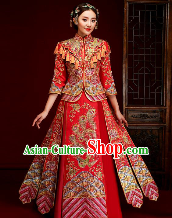 Traditional Chinese Embroidered Slim XiuHe Suit Wedding Costumes Full Dress Ancient Bottom Drawer for Bride