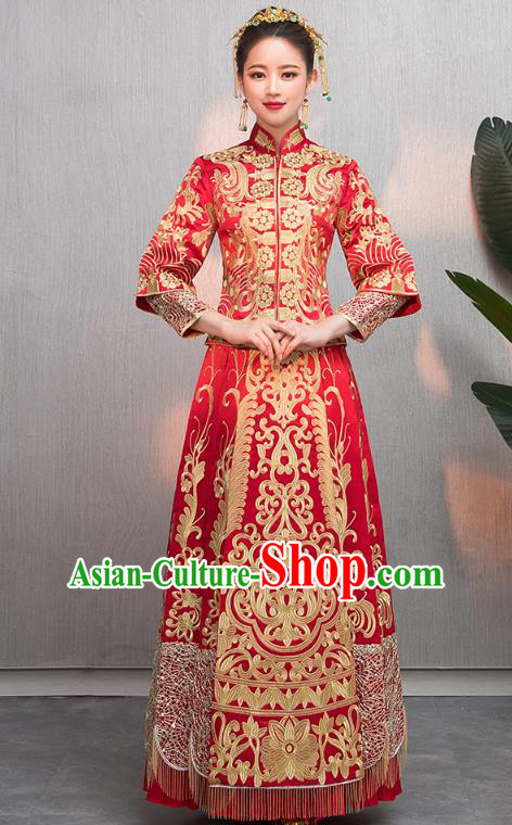 Traditional Chinese Wedding Costumes Embroidered Slim XiuHe Suit Ancient Bottom Drawer for Women