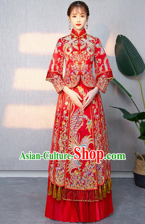 Traditional Chinese Ancient Bottom Drawer Wedding Costumes Embroidered Phoenix XiuHe Suit for Women