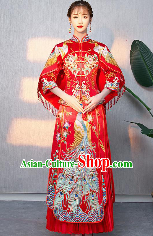Traditional Chinese Ancient Bottom Drawer Wedding Costumes Embroidered Phoenix Red XiuHe Suit for Women