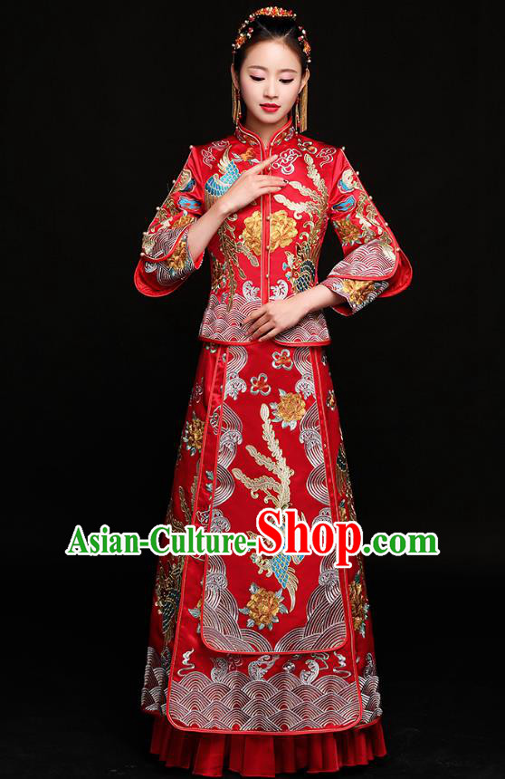 Traditional Chinese Embroidered Phoenix Slim Red XiuHe Suit Wedding Costumes Full Dress Ancient Bottom Drawer for Bride