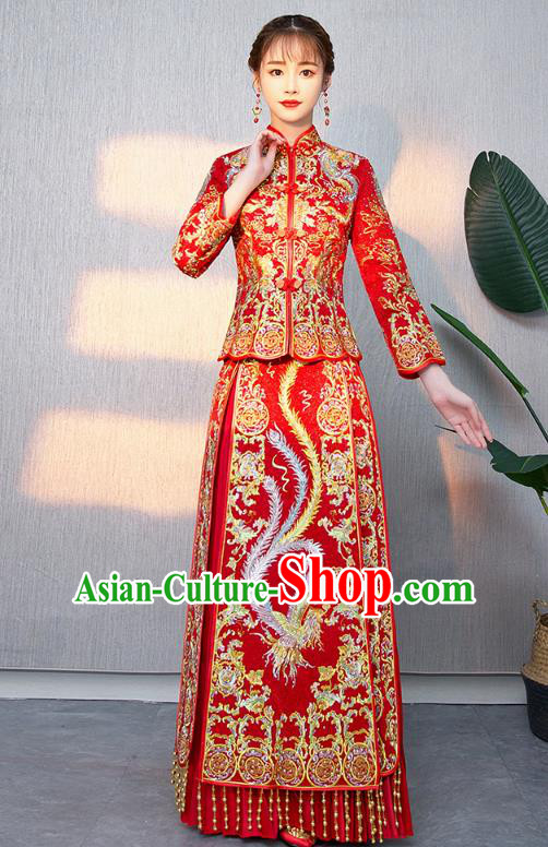Chinese Ancient Bottom Drawer Traditional Wedding Costumes Embroidered Phoenix Red XiuHe Suit for Women