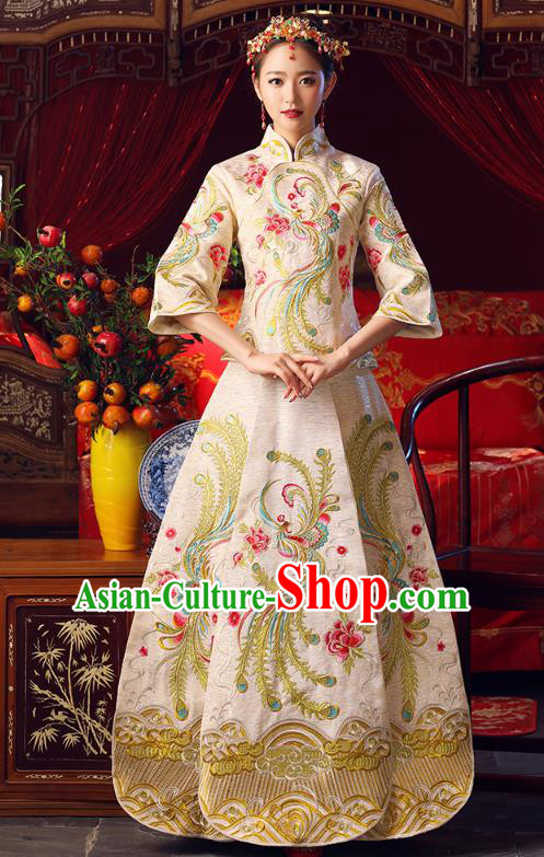 Chinese Ancient Bottom Drawer Traditional Wedding Costumes Embroidered Phoenix Golden XiuHe Suit for Women