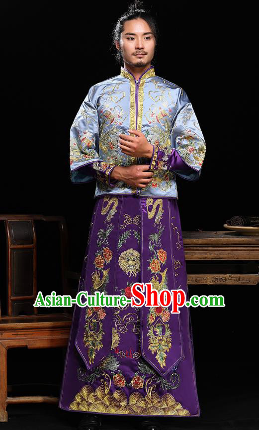 Traditional Ancient Chinese Wedding Purple Costumes Bridegroom Embroidered Tang Suit for Men
