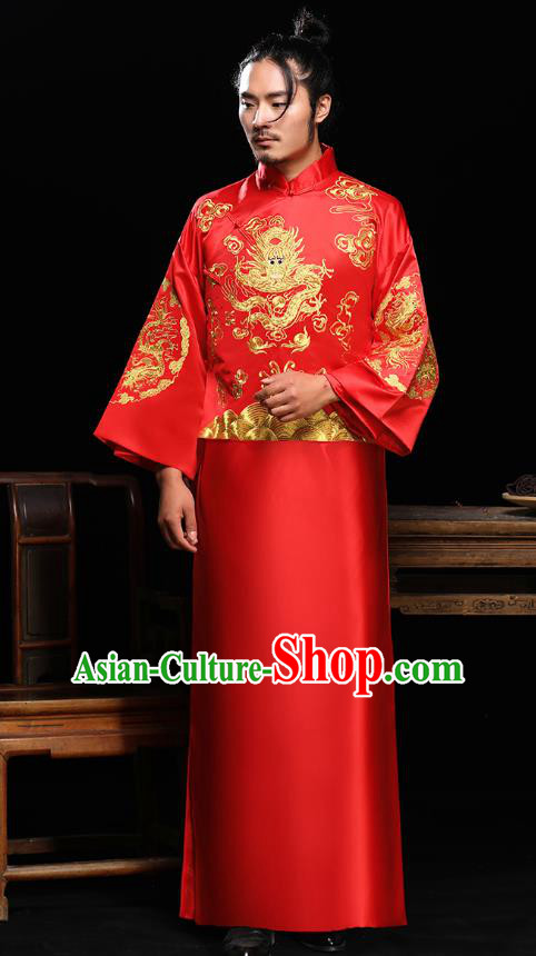 Ancient Chinese Wedding Red Toast Costumes Traditional Bridegroom Embroidered Tang Suit Long Robe for Men