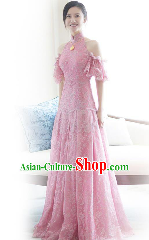 Traditional Chinese Embroidered Wedding Costumes Pink Full Dress Ancient Bottom Drawer for Bride