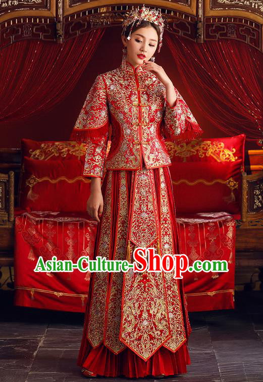 Chinese Ancient Bride Formal Dresses Embroidered Cheongsam XiuHe Suit Traditional Wedding Costumes for Women
