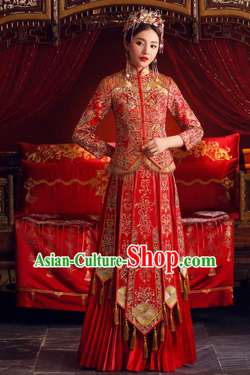 Chinese Ancient Bride Formal Dresses Embroidered Cheongsam Red XiuHe Suit Traditional Wedding Costumes for Women
